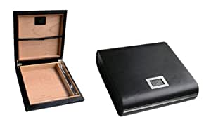 Prestige Import Group 20 Ct. Black Leather Travel Humidor w/ External Digital Hyg