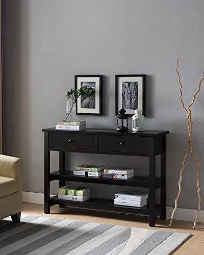 Smart Home CB29287 Mid Century Modern Sofa Console Table with Drawers, Red Cocoa Color, Side Table for Living Room