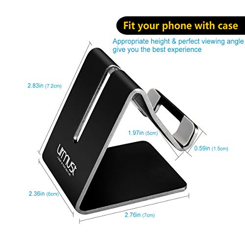 Desk Cell Phone Stand Holder Aluminum Phone Dock Cradle Compatible with Switch, All Android Smartphone, for iPhone 11 Pro Xs Xs Max Xr X 8 7 6 6s Plus 5 5s 5c, Accessories Desk (Black)