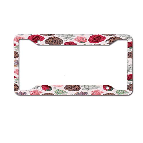 CardlyPhCardH Lotus Pot Roses Agave Flourish Pattern Romantic Bridal Wedding Themed Vintage Aluminum Metal License Plates for US Cars, Car Tag for Women/Men, 12 x 6 Inches 4 Holes.