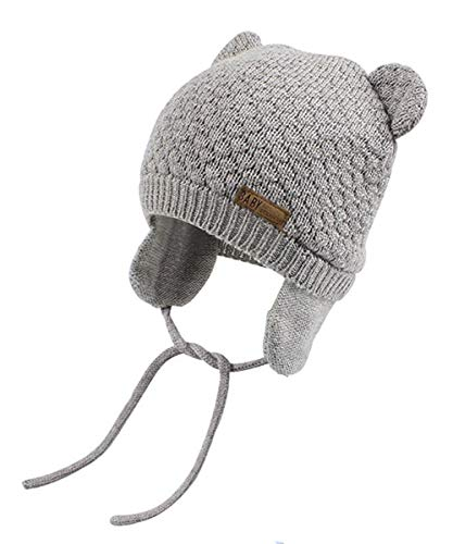 Chihom Infant Baby Boys Girls Knitted Hat with Earflaps Cute Beanie Skull Cap Warm Cuff Winter Bear Caps,03-grey,Fits for 1.5-4T