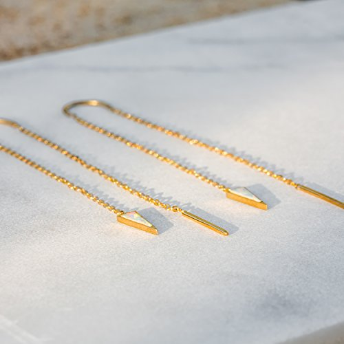 Opal Threader Earrings Dagger Earrings | 14k Gold Dipped Long Earrings For Women | Dangling Gold Earrings Chain Earrings | Celebrity Approved Hypoallergenic Thread Earrings For Women