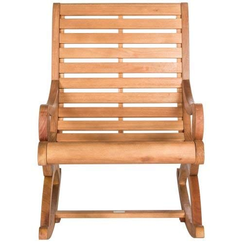 Eucalyptus Wood Wood Finish - Safavieh PAT7016B Outdoor Collection Sonora Rocking Chair, Teak Brown