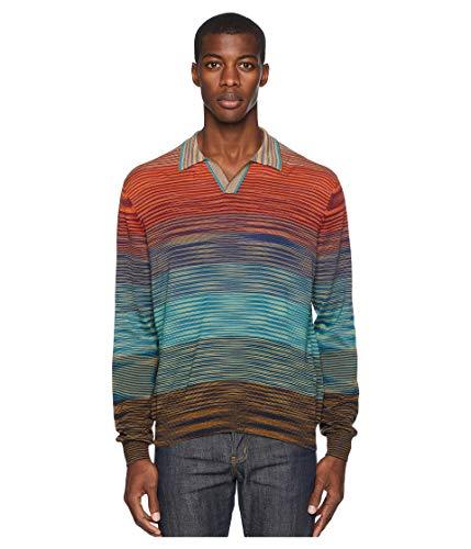 (Missoni Men's Ombre Long Sleeve Polo Sweater Bordeaux 52)