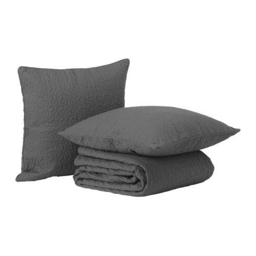 Alina Queen/king Size Quilted Bedspread with 2 Cushion Covers, Gray ~ Ikea