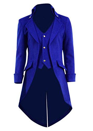 Very Last Shop Mens Gothic Tailcoat Jacket Black Steampunk Victorian Long Coat Halloween Costume (US Men-L, Royal Blue(Woolen)) -