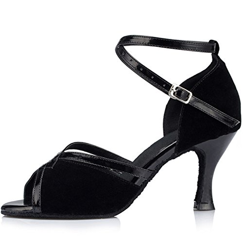 Shoesland W517 Shoes Chunky Black Latin Toe Peep Heel Dance Tango Dance Salsa Women's Ballroom SRwSxqrdU