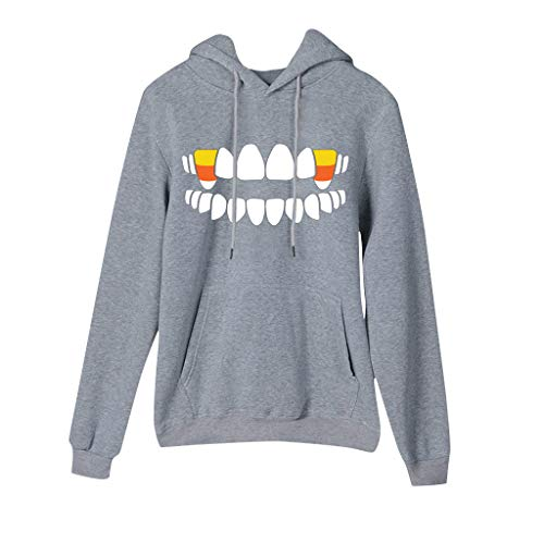 Benficial 2019 New Tops for Women Halloween Candy Print Long Sleeves Pullover Hooded Sweatshirt Blouse Tops Gray