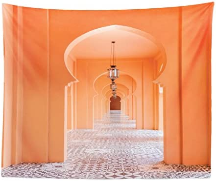 Lunarable Orient Tapestry King Size, Moroccan Walkway with Motifs and Elements Visual Oriental Photo, Wall Hanging Bedspread Bed Cover Wall Decor, 104 X 88 , Salmon