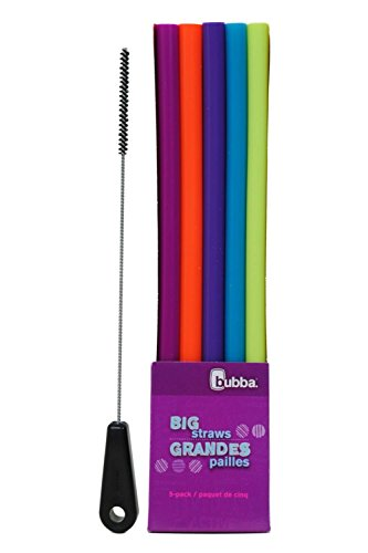Bubba Big Straws 5 Pack, Assorted Bold Colors, with Brushtech Big Straw Cleaning Brush Set