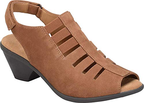 Comfortiva Womens Faye Open Toe Casual Ankle Strap Sandals, Whiskey, Size 7.5