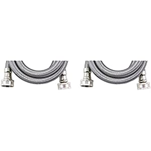 Certified Appliance WM72SS2PK Braided Stainless Steel Washing Machine Connector (Pack of 2), 72""