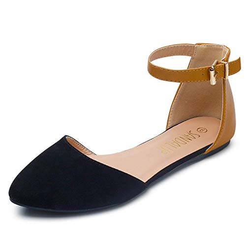 SANDALUP Pointy Toe Flats with Adjustable Ankle Strap Buckle for Women Black-Brown 07 Adjustable Strap Cute Shoes
