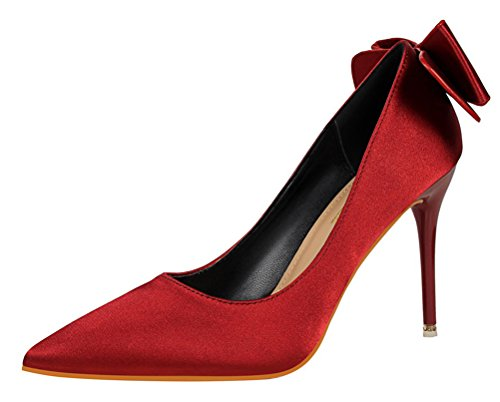 T&Mates Womens Sweet Cute Anti-Slip Satin Low Cut Pointy Stiletto Heeled Pumps Shoes with Bowtie (7 (Adult Red Sequin Shoe Covers)