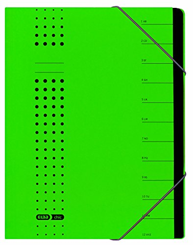 - Elba Bürosysteme 42496GN Index File Recycled Card 450 g/sqm A4 12 Compartments Green