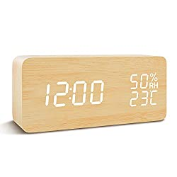 FiBiSonic Digital Alarm Clock Wood Clock with LED Display Voice/Touch Control Adjustable Brightness, Displays Time Date and Temperature Home Office Desk Clock