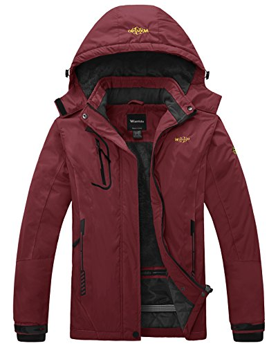Wantdo Women's Waterproof Mountain Jacket Fleece Windproof Ski Jacket Winter Coat Wine Red Small
