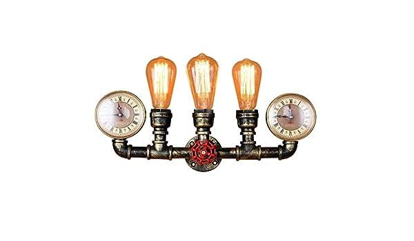 Aplique Industrial Lámpara De Pared Retro Vintage E26 Tubo De Agua Steampunk Lámpara De Diseño Lámpara De Pasillo De Bronce Lámpara De La Cama 3 Llamas: Amazon.es: Hogar