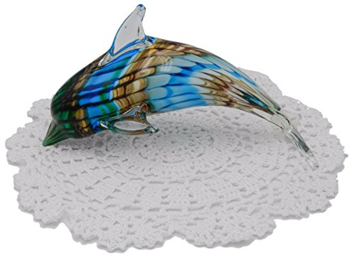 Beachcombers Coastal Life Decorative Dolphin Figurine with Westbraid Doily (Green/Gold Dolphin, 03529)