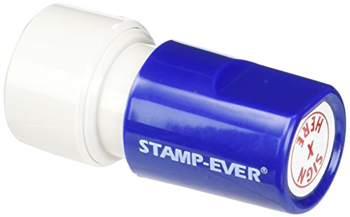Stamp-Ever Pre-Inked Round Message Stamp, Sign Here, Stamp Impression Size: 3/4-Inch Diameter, Red (5977)