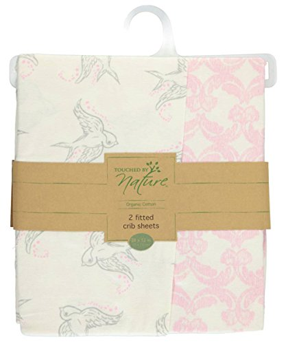 Touched by Nature Baby Girls Organic Fitted Crib Sheets 2 Pack Bird