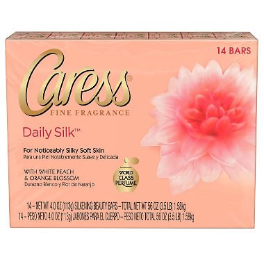 Caress Daily Silk 4 oz Beauty Bar White peach & Silky Orange blossom, 14-Pack (4 Soap Ounce Eco)