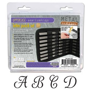 27 Piece Uppercase Cambridge Font Alphabet Metal Punch Set - 6mm Characters
