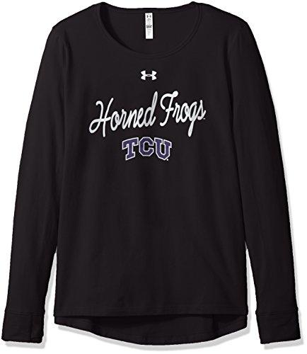 Under Armour NCAA TCU Horned Frogs Womens NCAA Women's Long Sleeve Charged Cotton Tee, Medium, Black