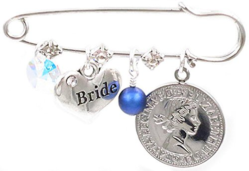 Better Than Buttons Iridescent Crystal, Bride Charm Blue Pearl and Six Pence Bridal Pin