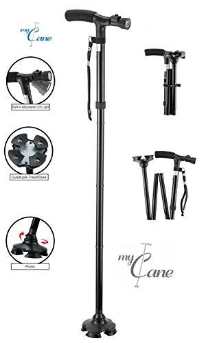 My Cane – Pivoting Quad Base, Folding Cane with Adjustable led light and cushion handle -