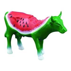 Cowparade Resin Multi Color Water Melon Small Size Cow Statue