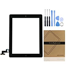 Universal Buying (TM) iPad 2 Replacement Screen Digitizer Front Display Touch Screen Assembly - Includes Home Button + Camera Holder + Pre-Installed Adhesive Stickers with Tool and Repair Kit for ipad 2 Digitizer ( Black )