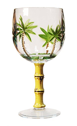 Diligence4us AS-0603 Palm Tree Sensation Wine Glass with Bamboo Handle, Set of 4