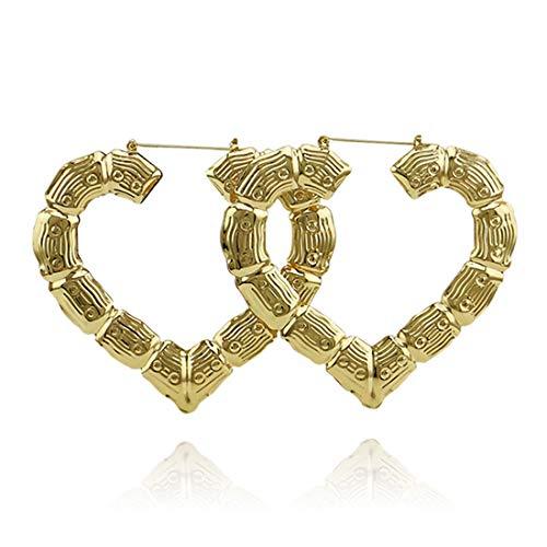 - Shoopic Heart Shaped Bamboo Hoop Earrings for Girls Gold
