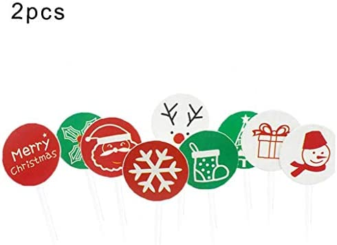 2 Set Christmas Cupcake Toppers Picks Merry Christmas Toothpick for Christmas Cake Decorations Christmas Party Holiday Supplies