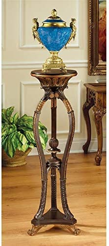 Design Toscano Floral Bouquet Pedestal Column Plant Stand, 38 Inch, Polyresin, Woodtone