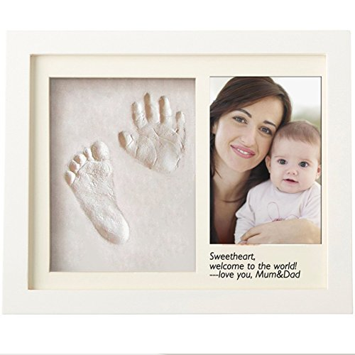 Baby Handprint Footprint Frame Shower Gift DIY Imprint Casting Photo Frame Kit Creative Present for Pregnancy Mom Safe Non Toxic Soft Clay Personalized Keepsake for Newborns (Best Diy Gifts)