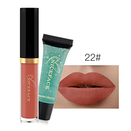 Hunputa Madly MATTE Lipstick Non-stick Cup Waterproof Lipgloss + Remover Gel (V)