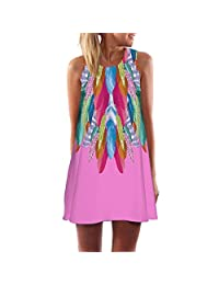 Changeshopping Women Colorful Vintage Sleeveless 3D Floral Print Tank Mini Dress