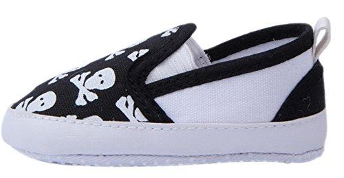 (Bigood Baby Toddler Crib Skull Anti-Slip Shoes First Walking Sneakers 13cm Black)