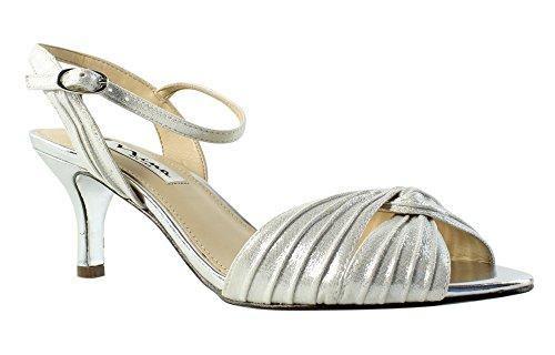 Nina Womens Slingback Shoes - Nina Womens Camille Open Toe Slingback Dress Sandals Silver 7 Medium (B,M)