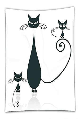 Nalahome Fleece Throw Blanket Cat Lover Decor Collection Cat Silhouette Mom and Kids Animals Simplicity Halloween Decorative Illustration Black White
