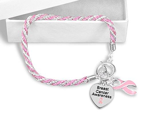 Breast Cancer Awareness Pink Ribbon Rope Bracelets (5 Bracelets in a Bag) - Cancer Awareness Toggle Bracelet