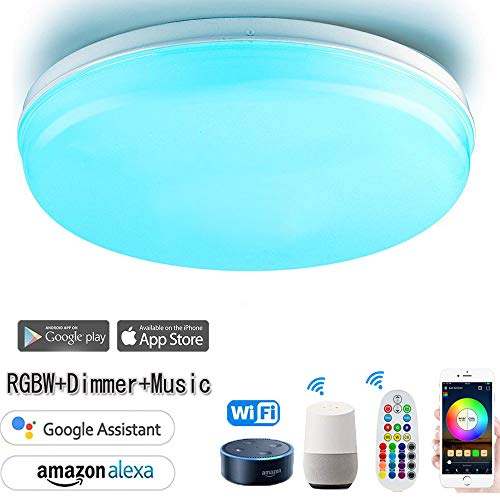 WiFi Ceiling Lamp 24W RGB+WW Dimmable Ceiling Light Compatible with Alexa and Google Assistant,MultiColor,Wake-up Lights,Voice Control & APP Control & Remote Controller,(Wifi-24W-RGBW-Φ11.8inch) (Best Wake Up App Android)