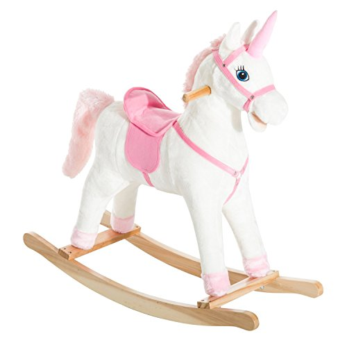 Qaba Kids Metal Plush Ride-On Unicorn Rocking Horse Chair Toy with Realistic Sounds