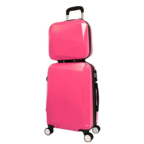 Pink Color Carry-on Spinner Luggage 2-Piece Set, Solid Diamond Pattern, Stylish, Fashionable, Lightweight, Expandable, Hard shell, Locking, Handle, Hardsided, Upright Rolling Suitcase, For Unisex by S & E