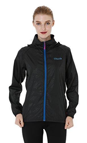 Wantdo Womens Light Windbreaker Fall Jacket UV Packable Contrast Zip Outdoor Hooded Jacket