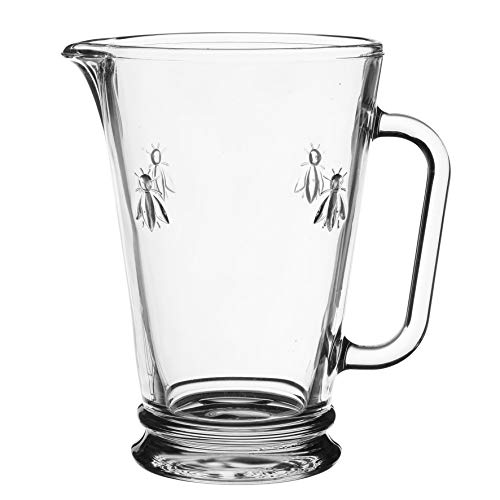 - La Rochere 34 ounces glass pitcher, hot/cold water jug, lemonade, juice and iced tea beverage carafe with handle