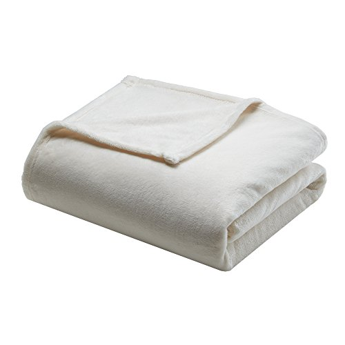 (Madison Park Microlight Luxury Blanket Ivory 10890 King Size  Premium Soft Cozy Microlight For Bed, Coach or Sofa)