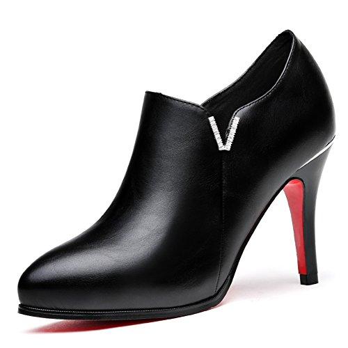 PUMPS Damen High Heels,Schuhe mit Tiefem Mund,Schwarz,Wilde Schuhe-A Fußlänge=22.3CM(8.8Inch)